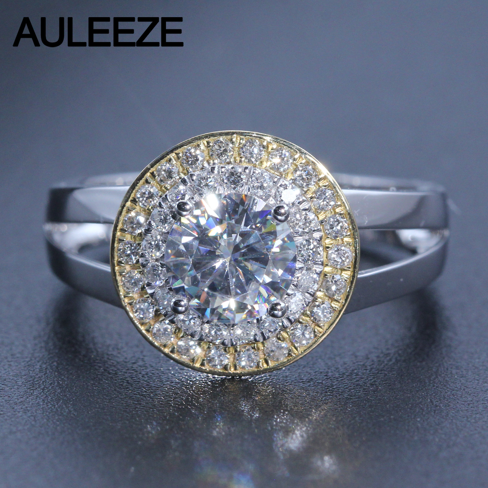 Round Brilliant Double Halo Pave Engagement Ring 1CT Moissanite Lab Grown Diamond 18K Two Tone Gold Diamond Classic Wedding Ring