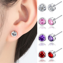 Tiny Round Crystal Zircon Stud Earrings For Women Fit Brand Birthday Party Simple Best Jewelry