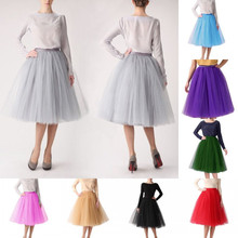 Popular Knee Length Ball Gown Tiered Ruffles Multi-color Tulle Skirt High Waist Tutu Skirts Womens Lolita Petticoats 2017