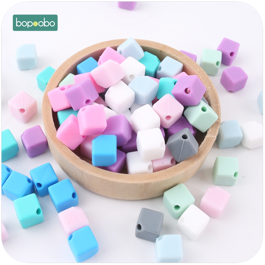 Bopoobo Silicone Cube Teether Colorful 10pcs 9mm Beads New Baby Gift DIY Teething Necklace Made Chew Silicone Beads Baby Teether