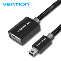 Vention Mini USB 2.0 OTG Cable Adapter Cable Mini USB2.0 480Mbps Male To Female OTG Cable 25cm for Cellular Phones MP3/4 Player