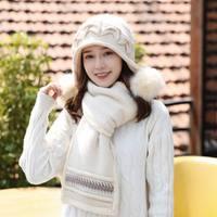 Kagenmo All Match Female Winter Hat Fashion New Year Gift Rabbit Fur Scarf Winter Knit Keep Warm Cap