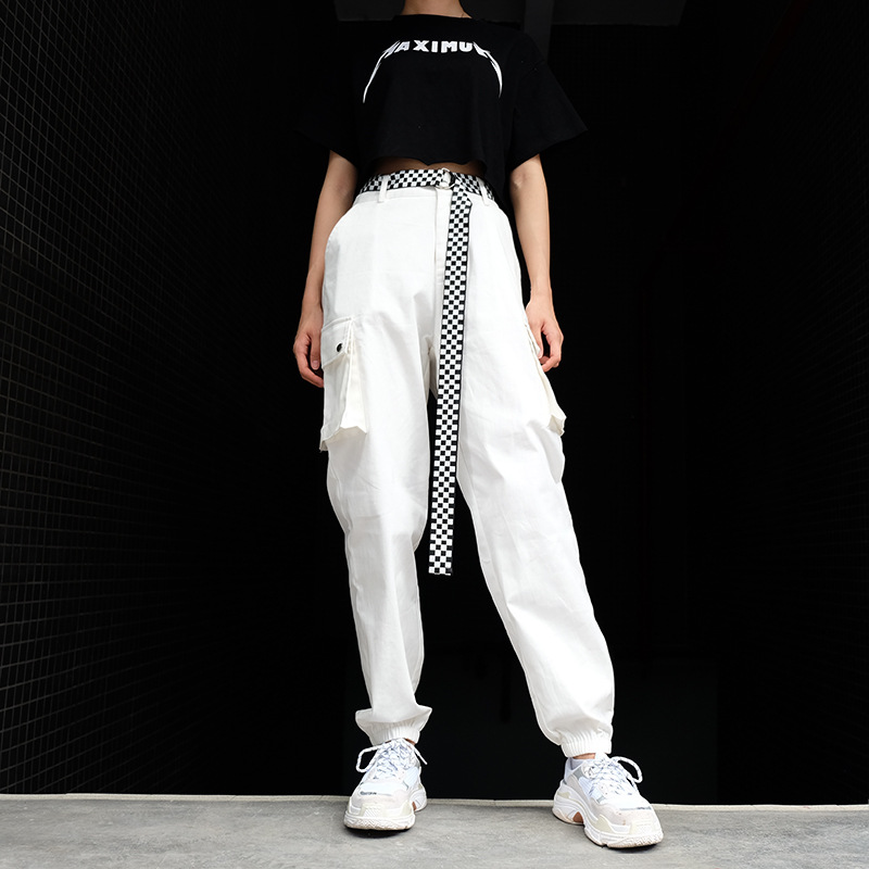 Hot Big Pockets Cargo pants women High Waist Loose Streetwear pants Baggy Tactical Trouser hip hop high quality joggers pants in Pants amp Capris from Women 39 s Clothing