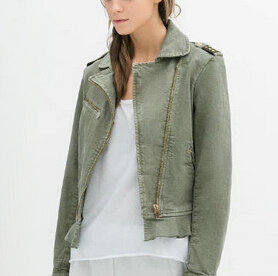 CT1030 New Fashion Ladies' elegant atylish green denim Jacket long ...