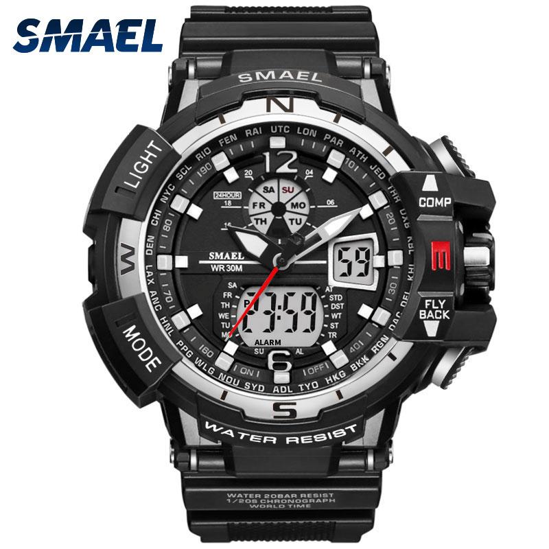 1376c Dual De Smael Hombres Led Deportivo Reloj Impermeable Muñeca Tiempo Choque Militar Nkwn0PX8OZ