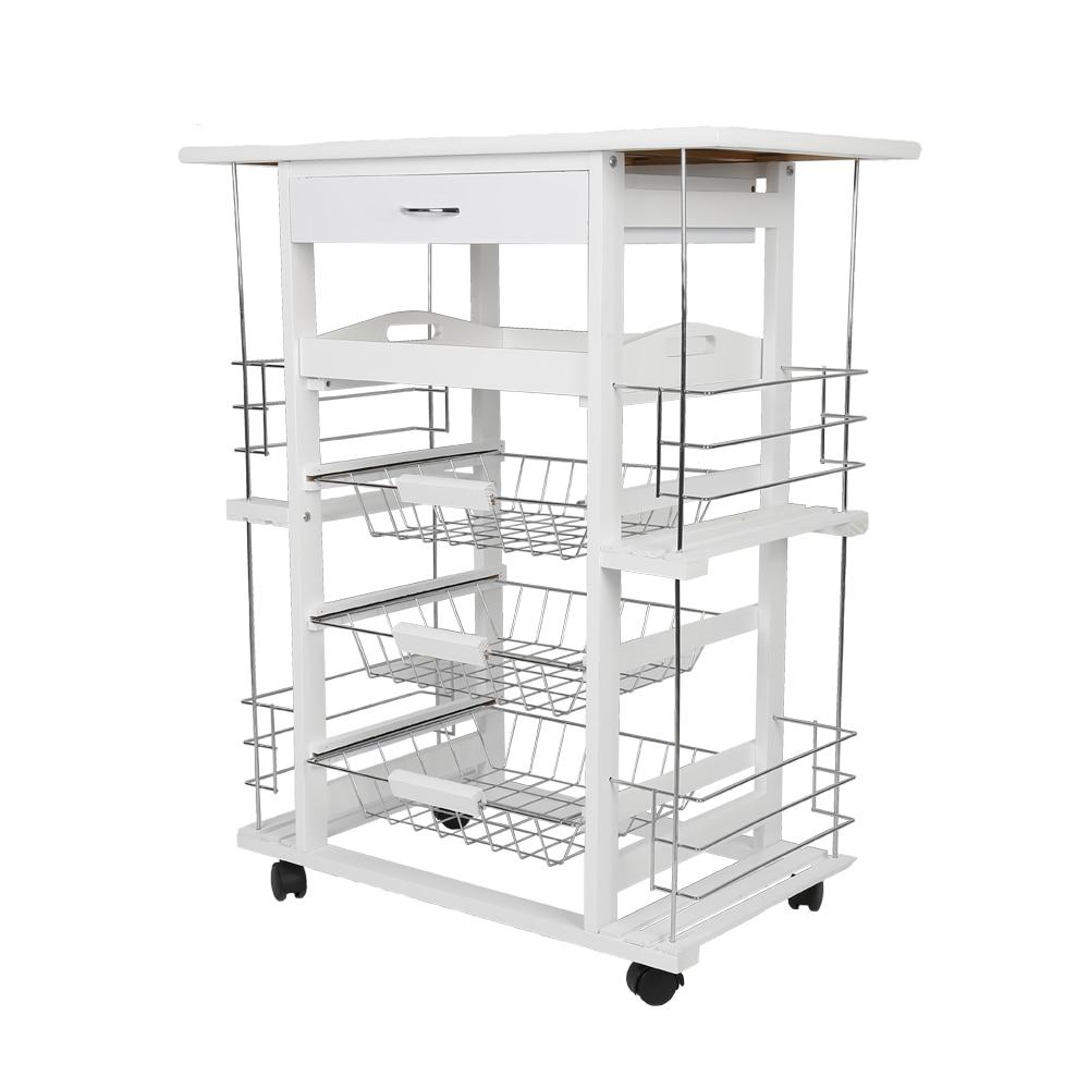 White Moveable Kitchen Rolling Tile Top Drop Leaf Storage Trolley Cart Four-layer Kitchen Trolley Shelf Rack HWC