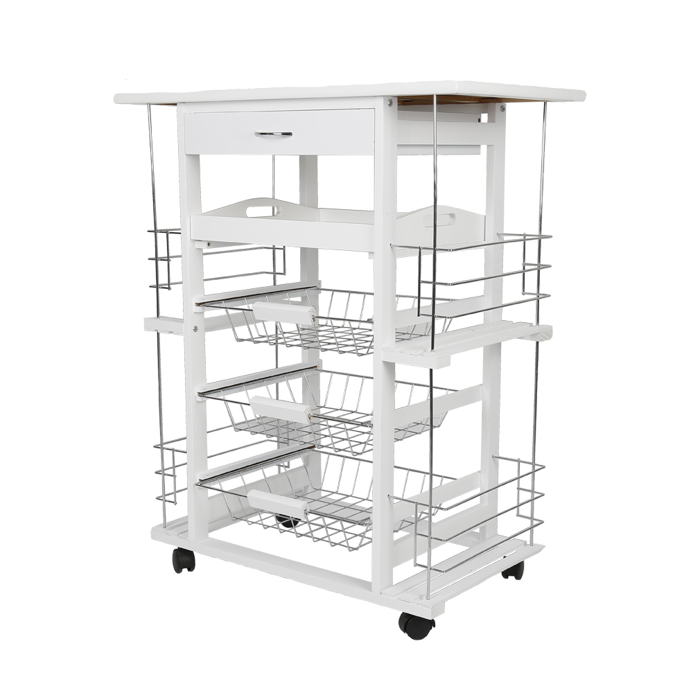 White Moveable Kitchen Rolling Tile Top Drop Leaf Storage Trolley Cart Four-layer Kitchen Trolley Shelf Rack HWC