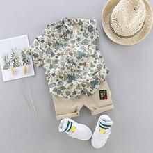 Nova chegada outfits da criança menino roupas de verão conjunto impressão fina superior crianças manga curta camisa terno para o bebê crianças floresta