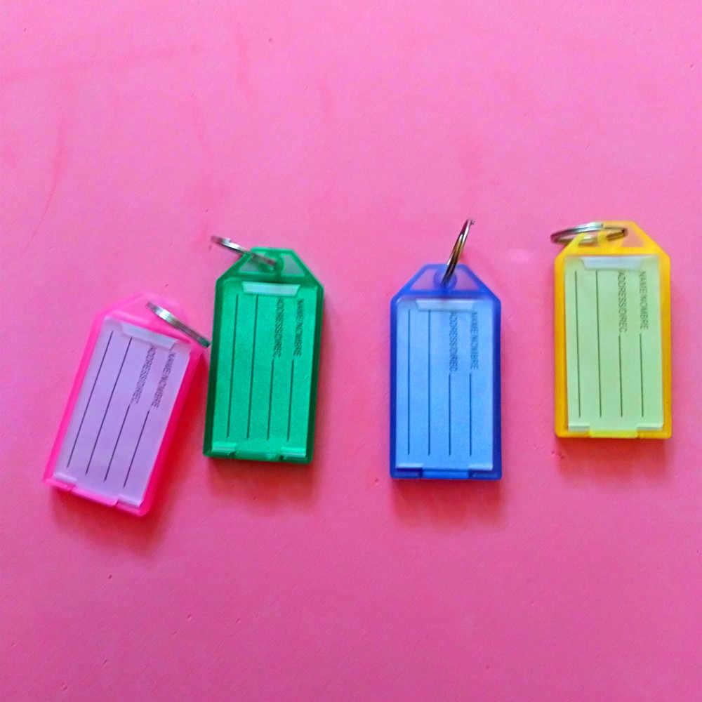1 pcs Anel de Metal Colorido de Plástico Chave Berloques ID Nome Do Cartão de Etiqueta de Bagagem Tag Chaveiro Classificação Chave Cadeias