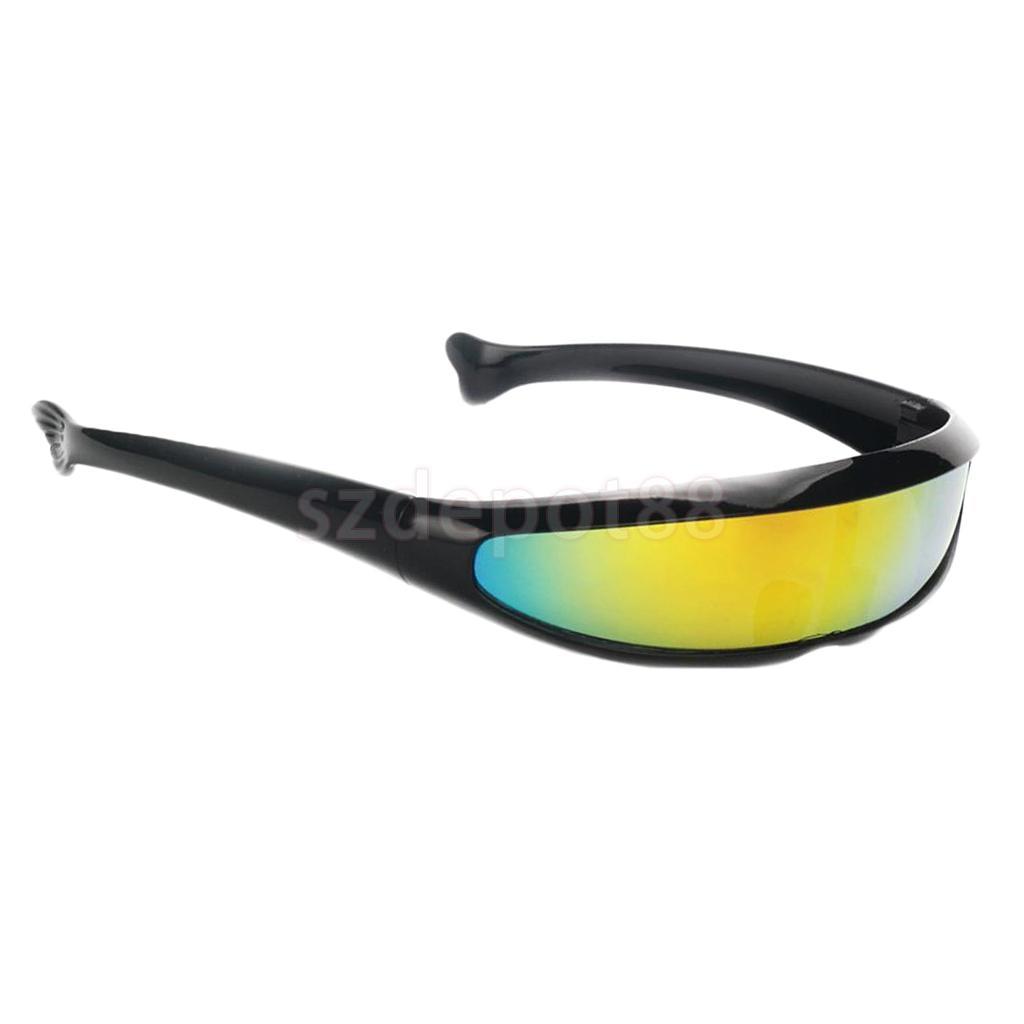 819c2b5b38 Los hombres de Color con espejo lente Visor gafas de sol futurista estrecha  Cíclope Cosplay accesorios para la fiesta de navidad