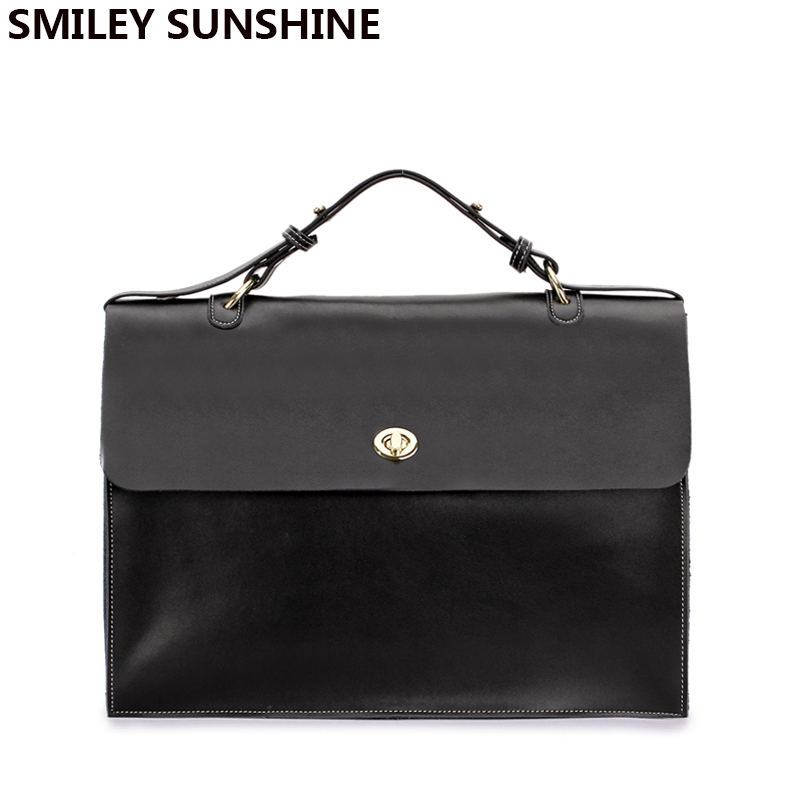 SMILEY SUNSHINE Genuine Leather Bag Women Handbag Korean Business Big Satchel Shoulder Bag Female real leather top-handle bags women bags 2017 original design vintage top handle genuine leather rivets satchel shoulder crossbody handbag big tote