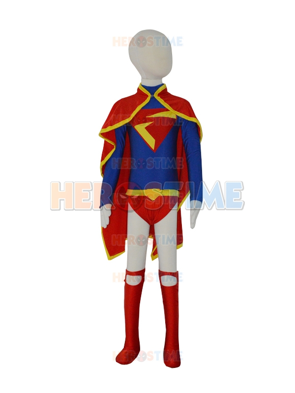 Free Shipping Child Leotard Design Supergirl DC Comics Superhero Costume Lycra Spandex Zentai Cosplay Bodysuit