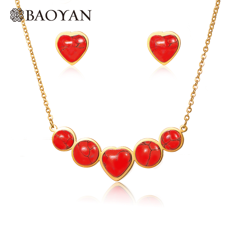 Baoyan 316L Stainless Steel Gold Color Red Blue Stone Heart Necklace with Earring Jewelr ...