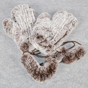 Image 4 - Sıcak satış kış gerçek kürk eldiven kadın elastik el yapımı örgü gerçek Rex tavşan kürk eldiven açık doğal Rex tavşan kürk eldivenler
