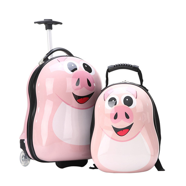 "2PCS/ Set hot child School bag Tourism luggage suitcase cartoon 17"" kids travel trolley case Boarding box children gift"