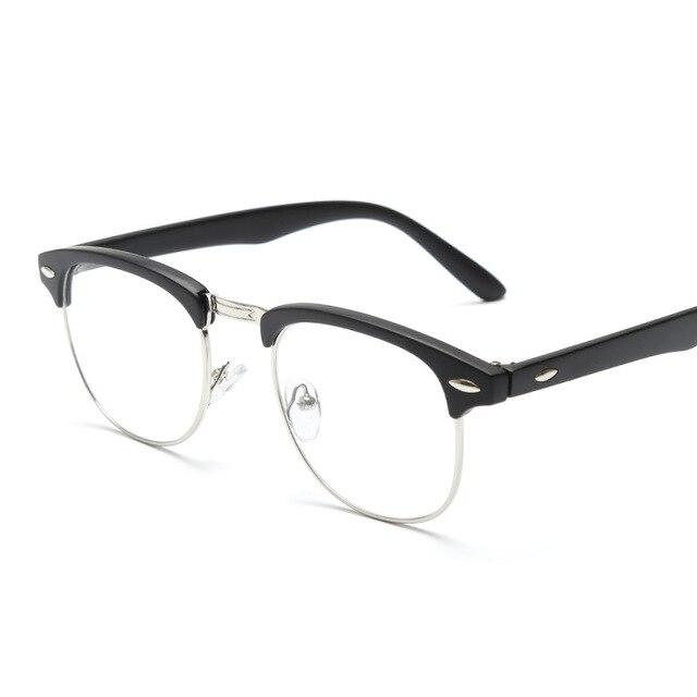 a143fd880f7d9 Clássico Do Vintage Óculos Limpar Lens Homens Óculos de Meia Armação dos Óculos  Sem Aro de