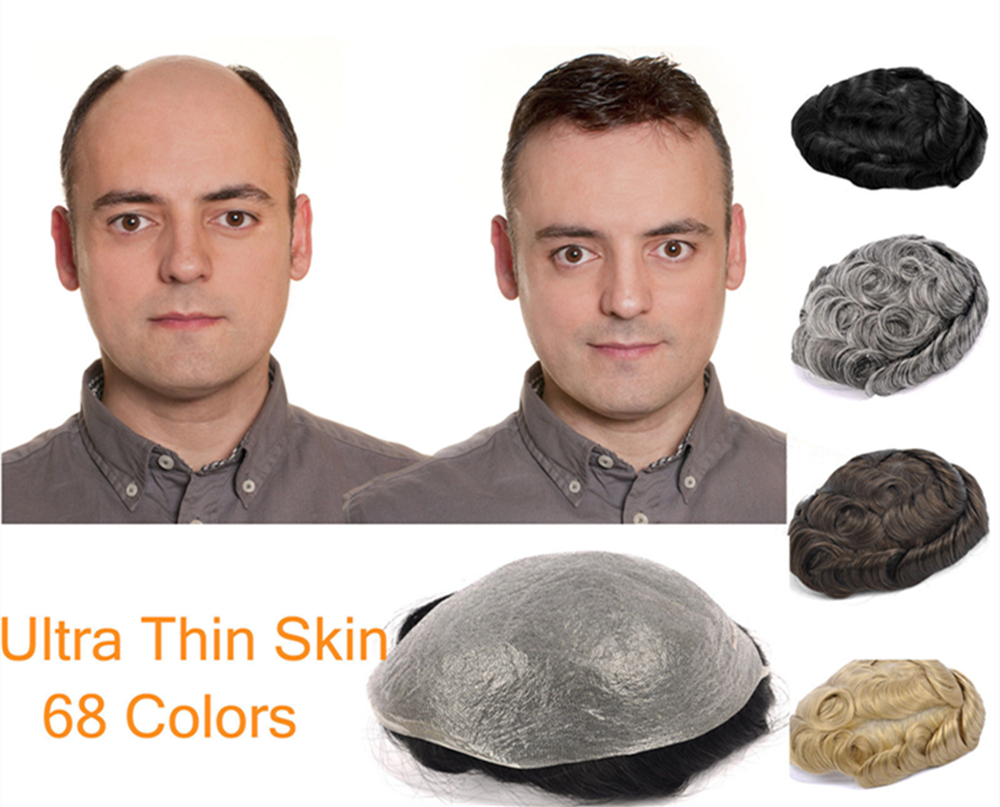 """62 colors PU Basement Hair 6"""" Slight Wave Medium Light Mens Hair Piece Toupee Best Quality NG Cut for yourself-in Hairnets from Hair Extensions & Wigs    1"""