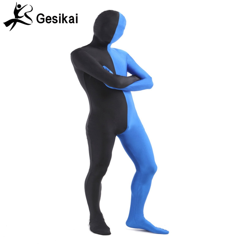 Men's Adult Full Zentai Bodysuit Mixed Color Spandex Lycra Zentai Tights Suit Left Blue and Right Black Halloween Costume