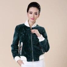 Factory direct supplier autumn winter 2015 women's fur jacket short section high-end European and American wool baseball shirt