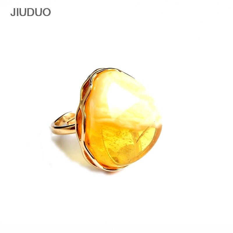 848dafb45 Přírodní jantarové kroužky Zlatý kruh ve tvaru srdce pro ženy