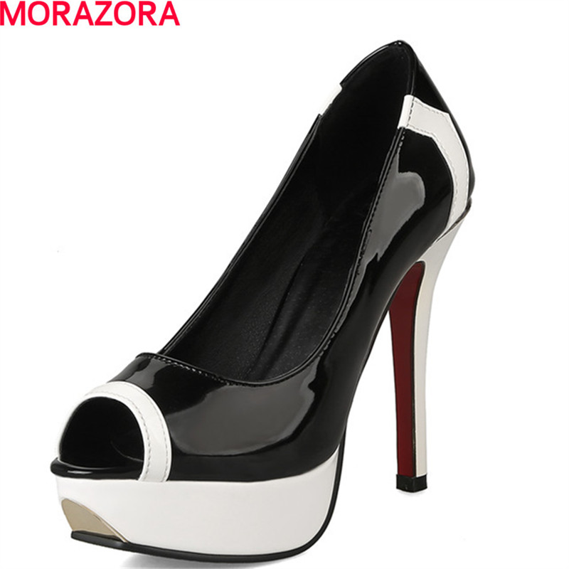 MORAZORA hot new women patent leather +pu sandals open toe high heels party shoes summer woman sexy big size 34-43 new 2017 sexy point toe patent leahter high heels pumps shoes sandals pr1987 woman s red sandals heels shoes wedding shoes