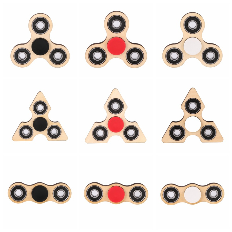 3 Angle Wooden Fidget Hand Spinner Triangle DIY Wooden Puzzle Finger Toy EDC Focus Toys For ADHD Austim Stress Relief Toys