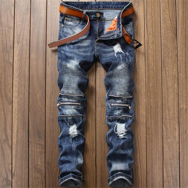 2018 Fashion Blue mens jeans ripped pants Punk Rock style elasticity casual Holes trousers cool stretch man denim pants