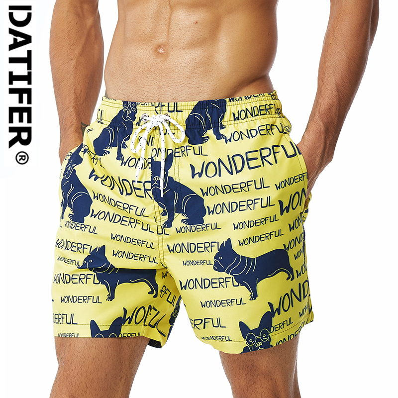 DATIFER New Arrival men Polyester   Board     Shorts   Beach Surf Pants Quick Drying Swimwear With Lining Plus Size