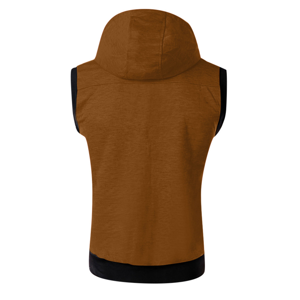 HTB1tjzbXgFY.1VjSZFnq6AFHXXaM - New Arrival Vests For Men Slim Fit Fashion Men's Summer Casual Hooded Pure Color  Short Sleeve Top Blouse