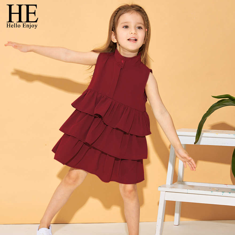 HE Hello Enjoy Kids Dresses for Girls Children's Party Girls Costumes Princess Birthday Belle Red Dresses Ball Gown 2-6T Clothes