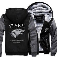Игра престолов House STARK Для мужчин Толстовка скоро зима толстовка 2017 Весна зимние теплые плотным ворсом мужская куртка на молнии