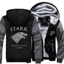 Video game of Thrones House Stark Men Sweatshirt Winter Is Coming Hoodie 2017 springtime winter season cozy fleece enlarge males coat Zipper layer
