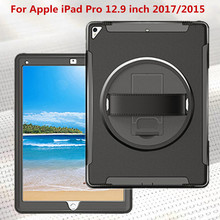 ZKFYS Tablet Hand Strap Case For Apple iPad Pro 12.9 inch 2017 2015 case Silicon TPU+PC shell Shockproof Stand Cover