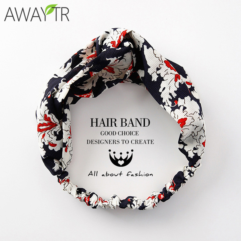 Knot Headbands Fashion Girls Head Band Holiday Printing Foral Turban Elastic Hairband Wrap Hair Female Bandeau Cheveux   Headwear