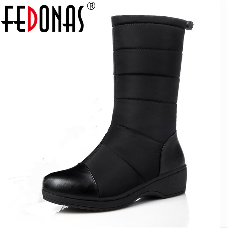 FEDONAS Russia Women Boots Keep Warm Snow Boots Platforms Winter Mid Calf Boots Fashion Solid Color High Shoes Woman White Black