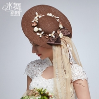 High Quality~Vintage Coffee Color Linen Hand-made Sweet Flowers Bowknot Bridal Hat/Photo Props/Formal Party Top Hat 1053