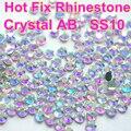 SS10 1440 pcs Limpar AB Cristal DMC HotFix Natator Ferro em Transferência De Strass Cristal Para O Vestido de Vestuário de Vidro Pedra