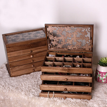 32*25*20.5Ccm 6 layers large wooden jewelry box jewelry necklace earrings high-end European retro Princess box makeup organizer