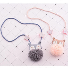 Korea Handmade New Cute Fox Animal Fabric Children Necklace For Girls Kids Pendant Chain Apparel Accessories-HZPRCGNL021F