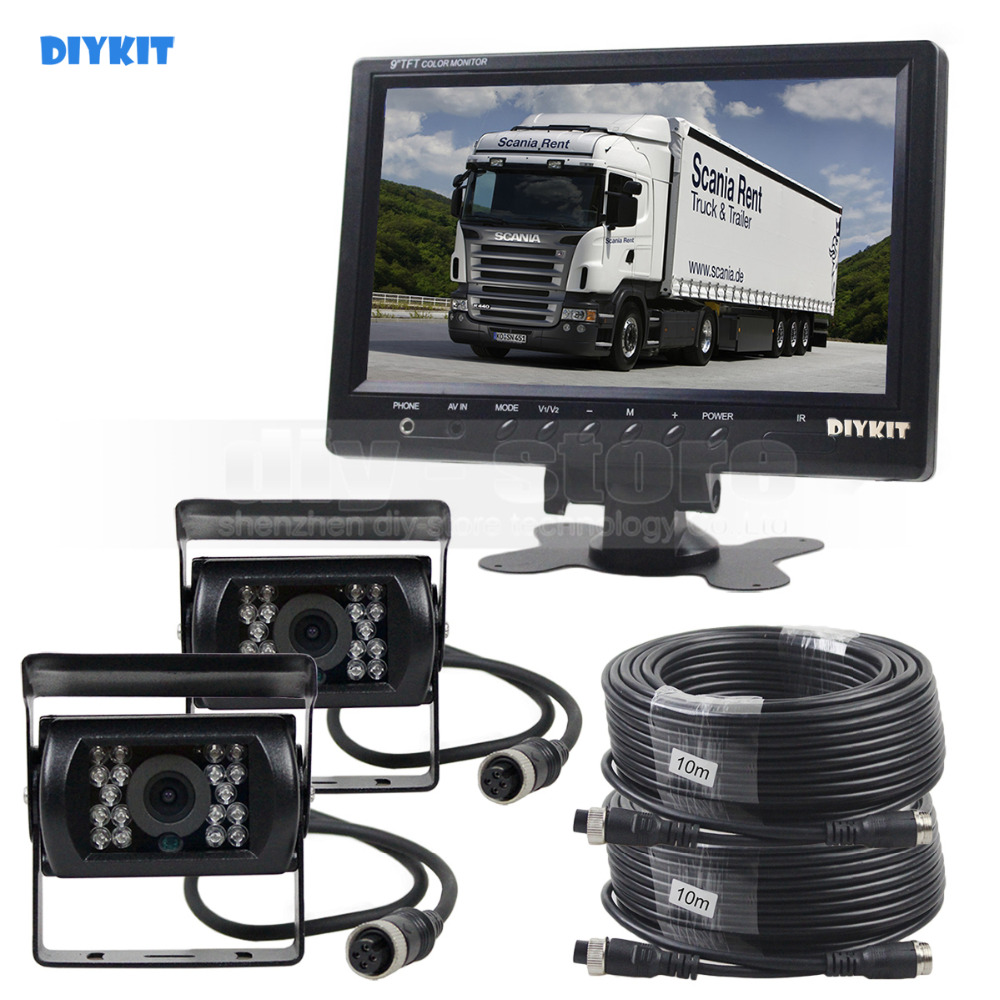 DIYKIT 9inch Car Monitor Rear View Monitor Waterproof IR CCD Camera Parking Accessories Kit for Bus Horse Trailer Motorhome 1V2 diykit wired 12v 24v dc 9 car monitor rear view kit backup waterproof ccd camera system kit for bus horse trailer motorhome