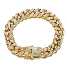US7 Rock Crystal Iced Out Bracelets For Men Gold Paved Rhinestones Miami Curb Cuban Hip Hop Rapper Bracelet Jewelry 8-11inch недорого