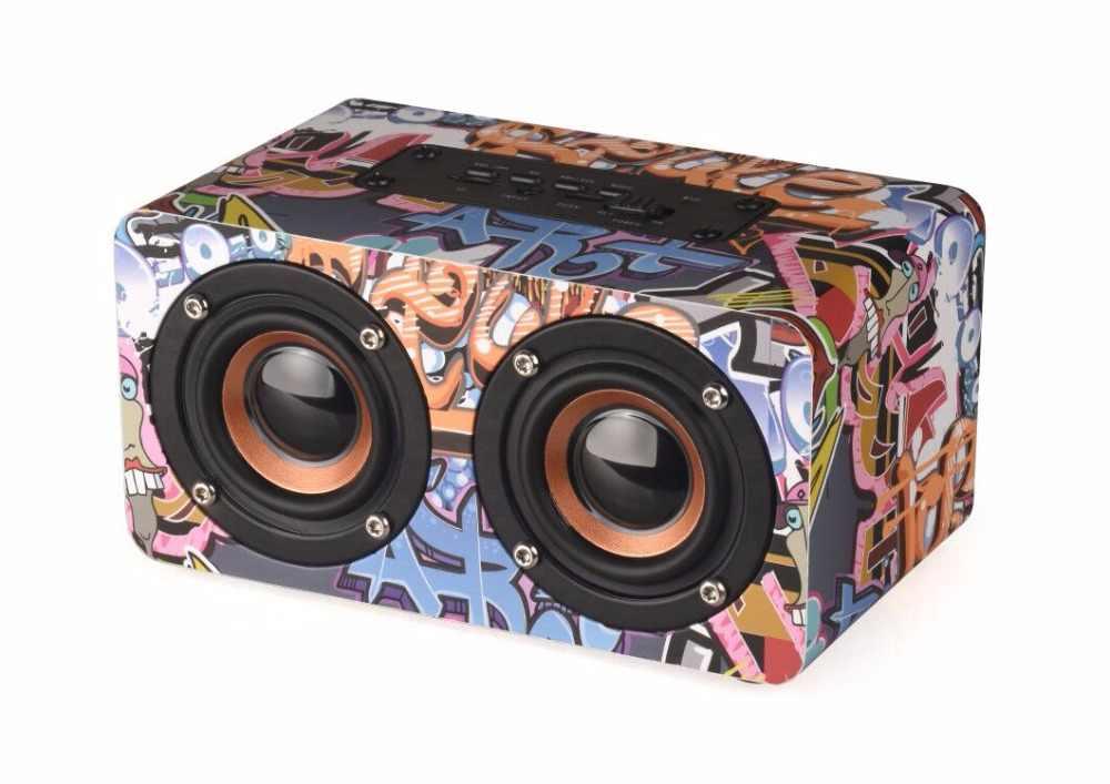 TOPROAD Портативный hifi беспроводной Bluetooth динамик деревянный бас Altavoz TF fm-радио caixa де сом Саундбар с микрофоном для телефона ПК