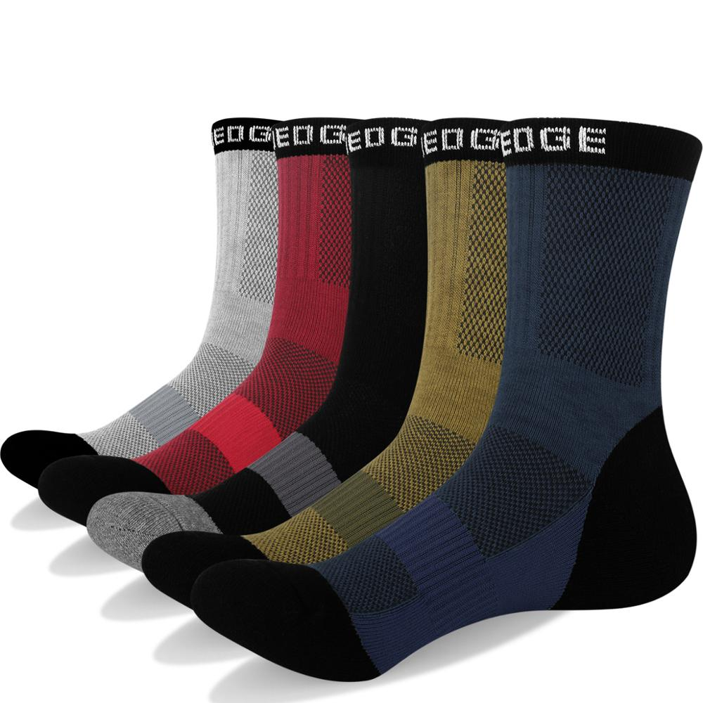 YUEDGE Comfort Breathable Cushion Cotton Men Casual Cycling Sports Running Socks Ergonomic Fit For Left And Right (5 Pairs/Pack)