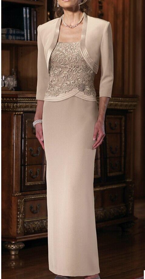 2016 Formal Gowns Mermaid Mother Of The Bride Dresses With Jacket Three Quarter Sleeve Elegant Modern Satin Vestido De Madrinha