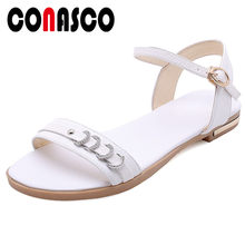 CONASCO Women Casual Shoes Genuine Leather Low Heels Buckle Strap Women Sandals Summer Career Working Leisure Basic Shoes Woman(China)