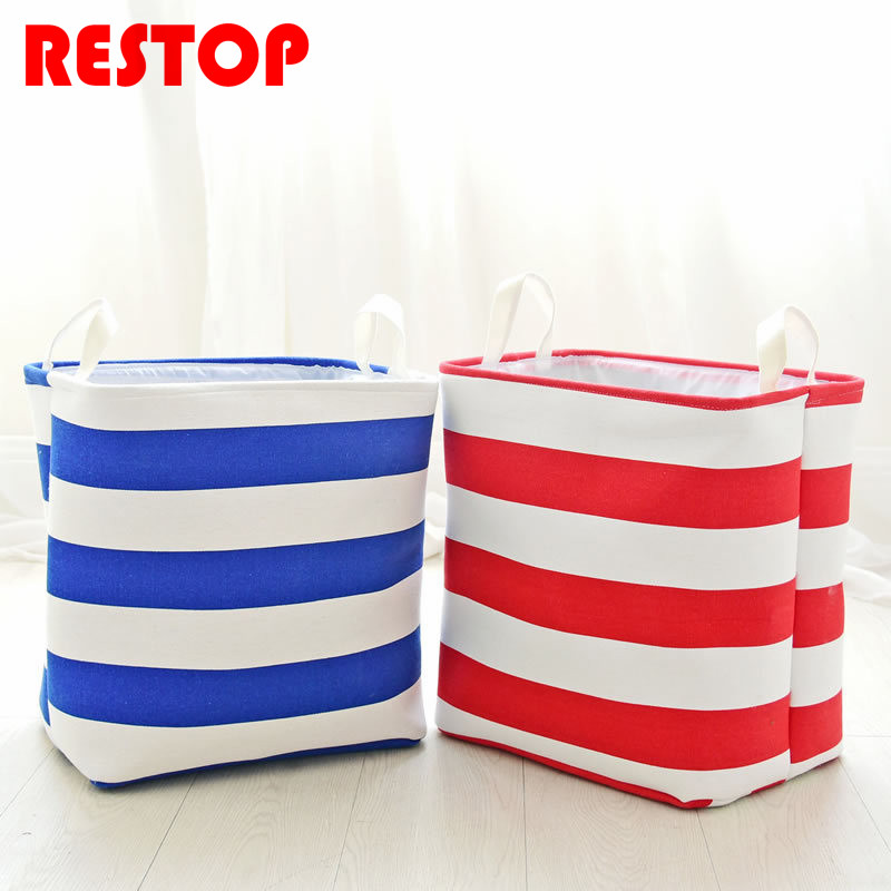 Stripe Square Thickening Laundry Bag Waterproof Cotton Washing Laundry Basket Dirty Clothing Bags Toy Storage Bag RES595