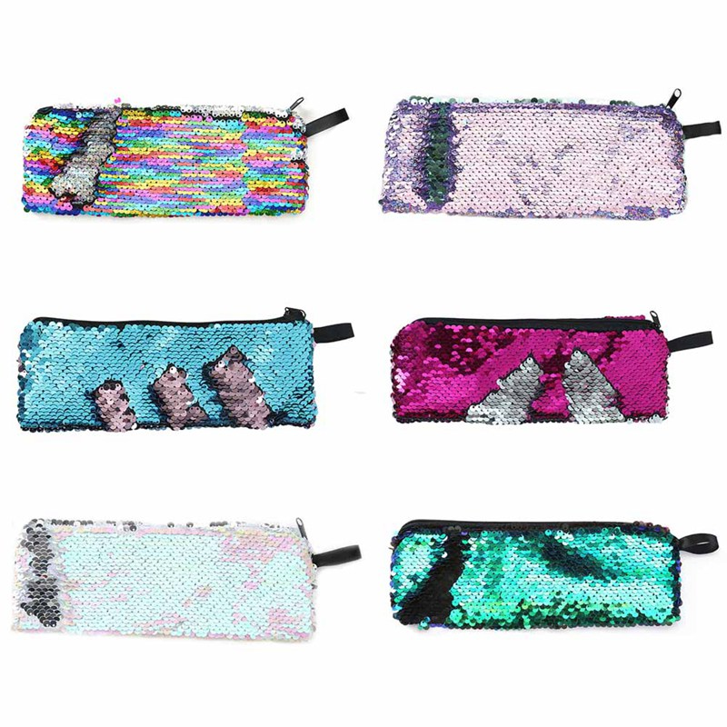 Mermaid Two-color Sequins Pencil Case Colorful Glitter Pencil Bag For Girls Gifts Pencilcase Stationery Pen Box School Supplies