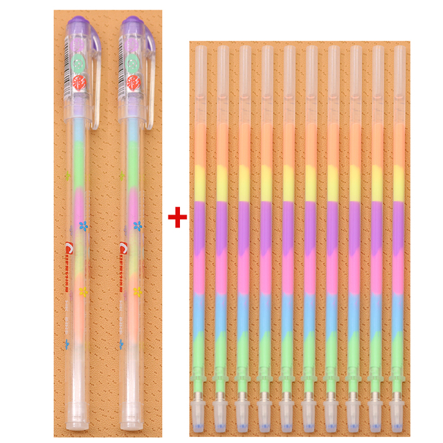 10 Refills 2 Pen Sets 6 Colors Rainbow Gel Pen School Office Supplies Graffiti Mark Stationery