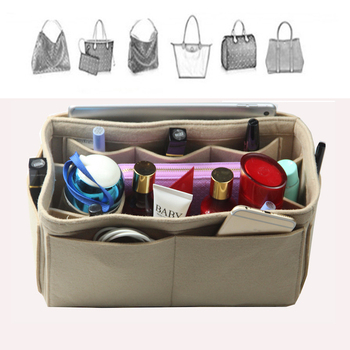 [Fits Artsy MM, Delightful,Khaki]Customizable 3mm Felt Tote Organizer (w/Milk Water Bottle Holder)Purse Insert Bag