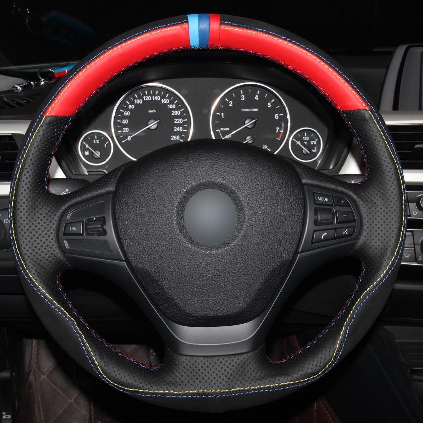 Black Red Natural Leather Black Suede Light Blue Blue Red Marker Car Steering Wheel Cover for